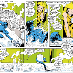 Somewhere there's a universe where Meggan grew up watching Don't Trust the B---- in Apartment 23, in which this scene went very differently. (Excalibur #1)