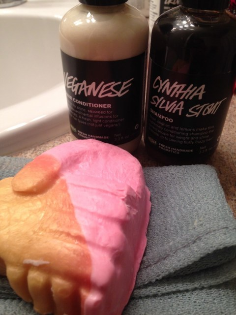 Lush stuff I tried today: The Hand of Friendship soap smells a LOT like cherry Starbursts; and the Cynthia Sylvia Stout shampoo + Veganese conditioner combo left my hair ludicrously soft and smelled pretty great.