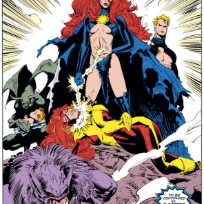 I'm genuinely curious as to whether this splash page started out as a cover design. (Uncanny X-Men #242)