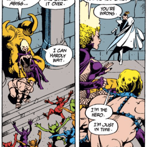 And you thought the Goblin Prince's outfit was scandalous. (Excalibur #7)