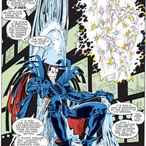 Does it get more Mr. Sinister than sitting on a giant crystal throne playing with X-Men action figures and expositing dramatically to himself? No. No, it does not. (Uncanny X-Men #239)