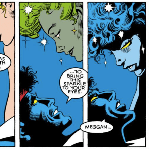 SPOILER: This kiss does not actually happen. (Excalibur #4)