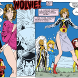 What's really amazing is that this isn't remotely her worst costume. (Excalibur: Mojo Mayhem)