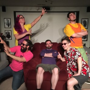 In which a bunch of twenty and thirty-something PNW nerds pretend to be New England teenagers. Left to right: Crystal Frasier as Jubilee, Miles Stokes as Boom Boom, Logan Bonner as the indifferent god of a cruel world, Jay Edidin as Havok, Max Carleton as Shadowcat.