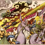 If you can't punch pterosaurs, punching the jerks riding them is the next best option. (New Mutants #84)