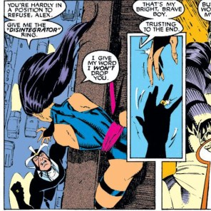 Tequila turns some people into jerks. For Psylocke, it's apparently rings. (Uncanny X-Men #256)