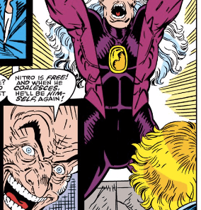 I was just gonna clip Nitro, but then I noticed the faces in the inset panel. (New Mutants #86)