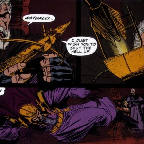 Cable: master of witty comebacks in any reality. (Wolverine: Rahne of Terra)