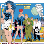 Jim Lee cocktail dresses, topped off with Jim Lee hair. (Uncanny X-Men #268)