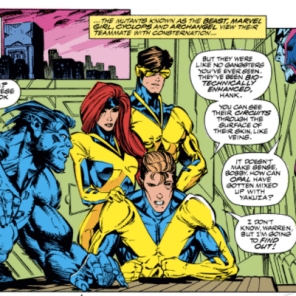 """We'll go rescue your girlfriend in a sec, but first check out our rad new costumes!"" (X-Factor #63)"