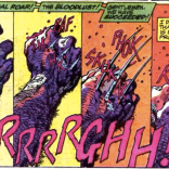 Terrific use of sound effects, either way. (Marvel Comics Presents #77)
