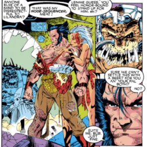 Wolverine parties like a Robert E. Howard protagonist. (Uncanny X-Men #275)