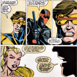 """Kings of Pain? Oh, yeah, isn't that the crossover where Cyclops encourages a disturbed youth to commit suicide?"" (X-Factor Annual #6)"