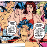 """We eat dinner naked. It's very sexy. And then we do the sexy dishes, sexily."" (Uncanny X-Men #281)"