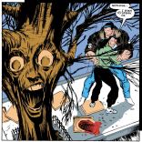 Remember that time Mikhail Rasputin turned a random skater into a tree? Because that certainly happened. (Uncanny X-Men #280)