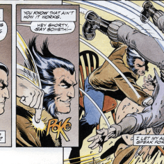 That smirk in the second panel! (Wolverine: Bloodlust)