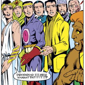 I like to imagine them all getting together and drinking tea and just sort of looking shell-shocked in quiet sympathy. (Excalibur #49)