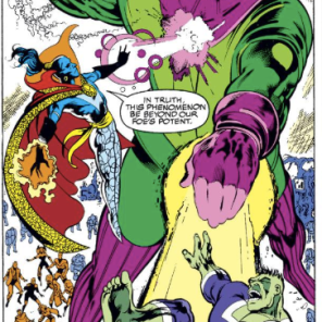 The cross-time incursions in this issue are really fun. (Excalibur #49)