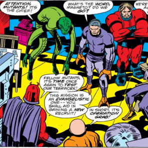 The all-new, all-different Brotherhood of Evil Mutants! Note Shocker's weird little crab claws. (Captain America Annual #4)