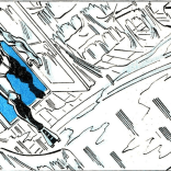 Diagonal art in a horizontal panel: simple, effective, and creepy. (Rom #17)