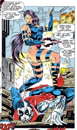 Why is Psylocke standing like this mid-fight? Or at all, honestly? A MYSTERY FOR THE AGES. (X-Men #15)