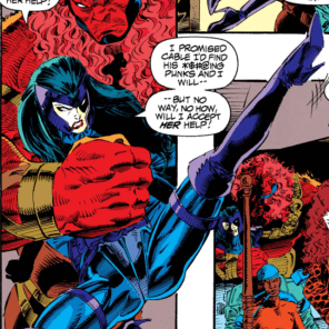 """Thanks for holding me up while I practice my Liefeld kicks, buddy!"" (X-Force #24)"