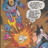 Oh, c'mon. I know you're evil and bloodthirsty, but shooting corpses is just gratuitous. (Excalibur #69)