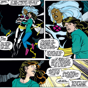 One of the best of many callbacks. (Uncanny X-Men #304)