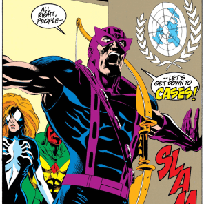 Hawkeye should enter every room this way. (Avengers West Coast #101)