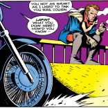 """I WAS coming up with new cheers, but den you showed up on dat motorcycle."" (Rogue #3)"