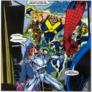 Aw, poor Mirrorfacemaskperson. (Spider-Man and X-Factor: Shadow Games #3)