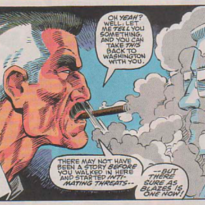 I bet JJJ smells like an ashtray, like, ALL the time. (Spider-Man and X-Factor: Shadow Games #1)