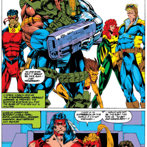 Too many muscles for one panel: The X-Force Story. (X-Force #27)