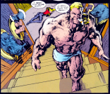 Note the arms and the axe. (Sabretooth: Death Hunt #1)