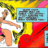 Yeah, that swimsuit is... improbable. (X-Force #32)