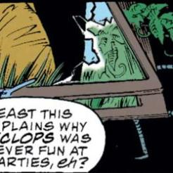 Be fair, Gambit: there are a LOT of reasons Cyclops is never fun at parties. (X-Men #34)