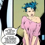 The weirdest thing about this panel is that the tractor beam seems to have shrunk her shirt by about half. (X-Men Annual #5)