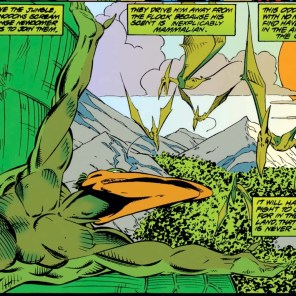 They say it's the smell, but I bet the other pterosaurs are actually judging him for his jorts. (X-Men Unlimited #6)