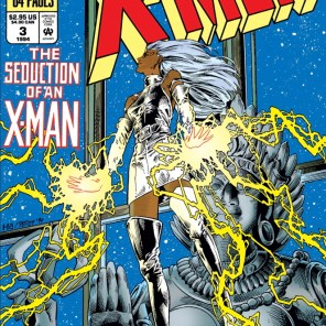 Alas, contrary to the implications of this cover, Storm will not be seduced by a giant statue of a lady in this story. (X-Man Annual #3)