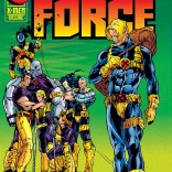 Next up: this cover sadly walking away from a gathered crowd of additional copies of this cover. (X-Force #44)