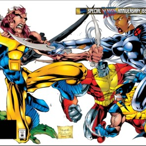 Anniversary or no, this image does not justify a double gatefold. (Uncanny X-Men #325)