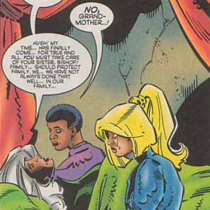 I still can't figure out what's happening with the purple garment that Bishop and possibly also his grandmother are wearing. (X.S.E. #1)
