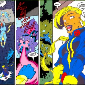 Shard's expression in the last panel is so delightful. (X-Factor #123)