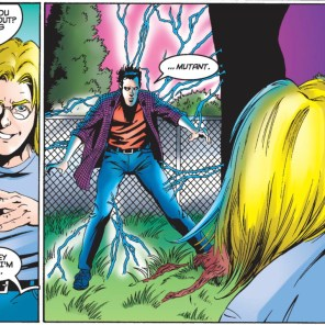 """Seriously, there is NO evidence at this point that it's the word """"mutant"""" that sends the kid running and not, say, the lightning. (X-Men Unlimited #8)"""