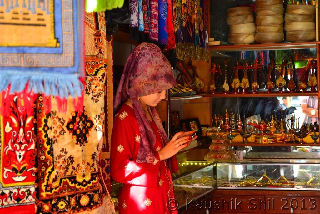 Beautiful shop and even prettier shopkeeper at Kashgarh