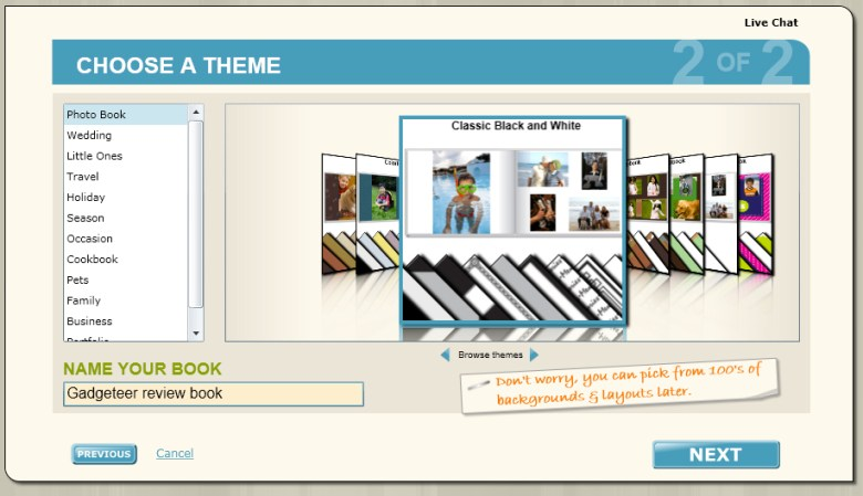 Theme selection step of Inkubook new book setup wizard.