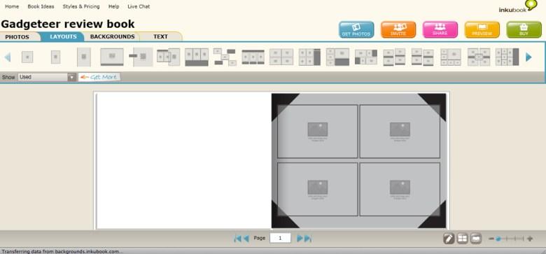 View of Layouts tab in Inkubook Photobook Editor