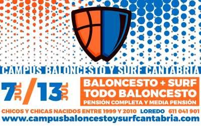 Últimas 30 plazas en pensión completa para el Campus Baloncesto y Surf Cantabria