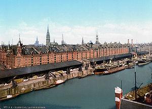 The Speicherstadt in Hamburg around 1873.