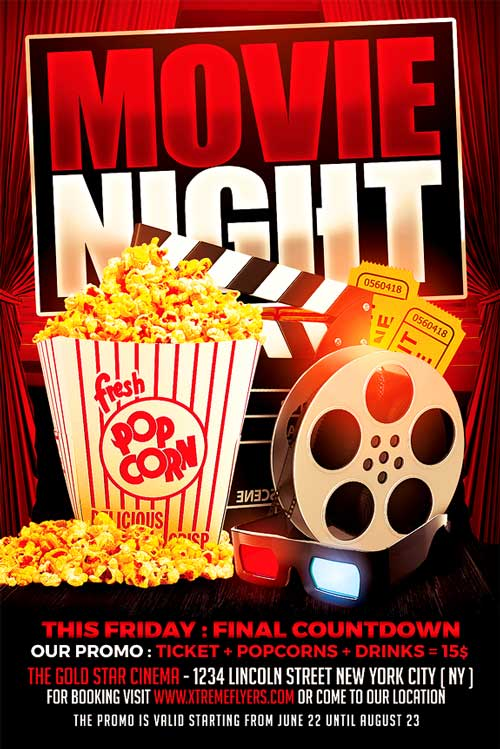 Cinema Flyer Template Xtremeflyers Movie Night Flyer Template Maxwellsz